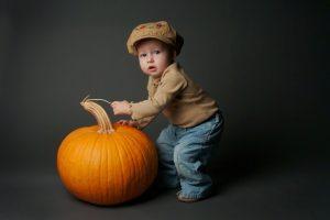 Cute Baby With Pumpkin HD Wallpaper
