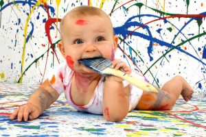 Cute Funny Baby With Painting Color HD