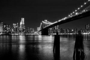 Night Black and White View of Bridge