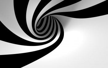 3D View Abstract Black And White Minimalistic Hole Spiral Zebra Stripes High Resolution iPhone Photograph