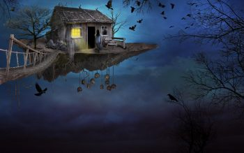 Art Sky Bridge Island Girl House Bird Fantasy High Resolution iPhone Photograph