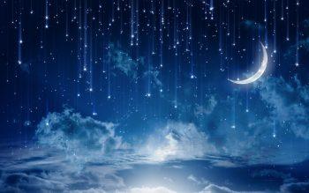 Sky Moonlight Nature Night Stars Clouds Rain Landscape Moon High Resolution iPhone Photograph