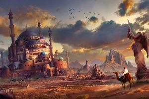 Statue Cacti Art Pursue Ruins Feng Liu The City Fantasy Castle
