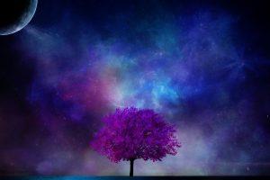 Tree Planet 3D Art Nebula Sky Science Fiction Planet Moon Stars Blossom Neat Image For Free