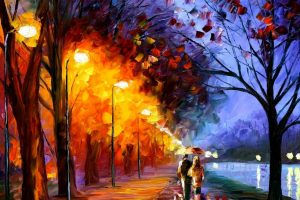 Walk Along The Waterfront Leonid Afremov Tour Two Umbrella Lights Paints Painting Picture Trees Street