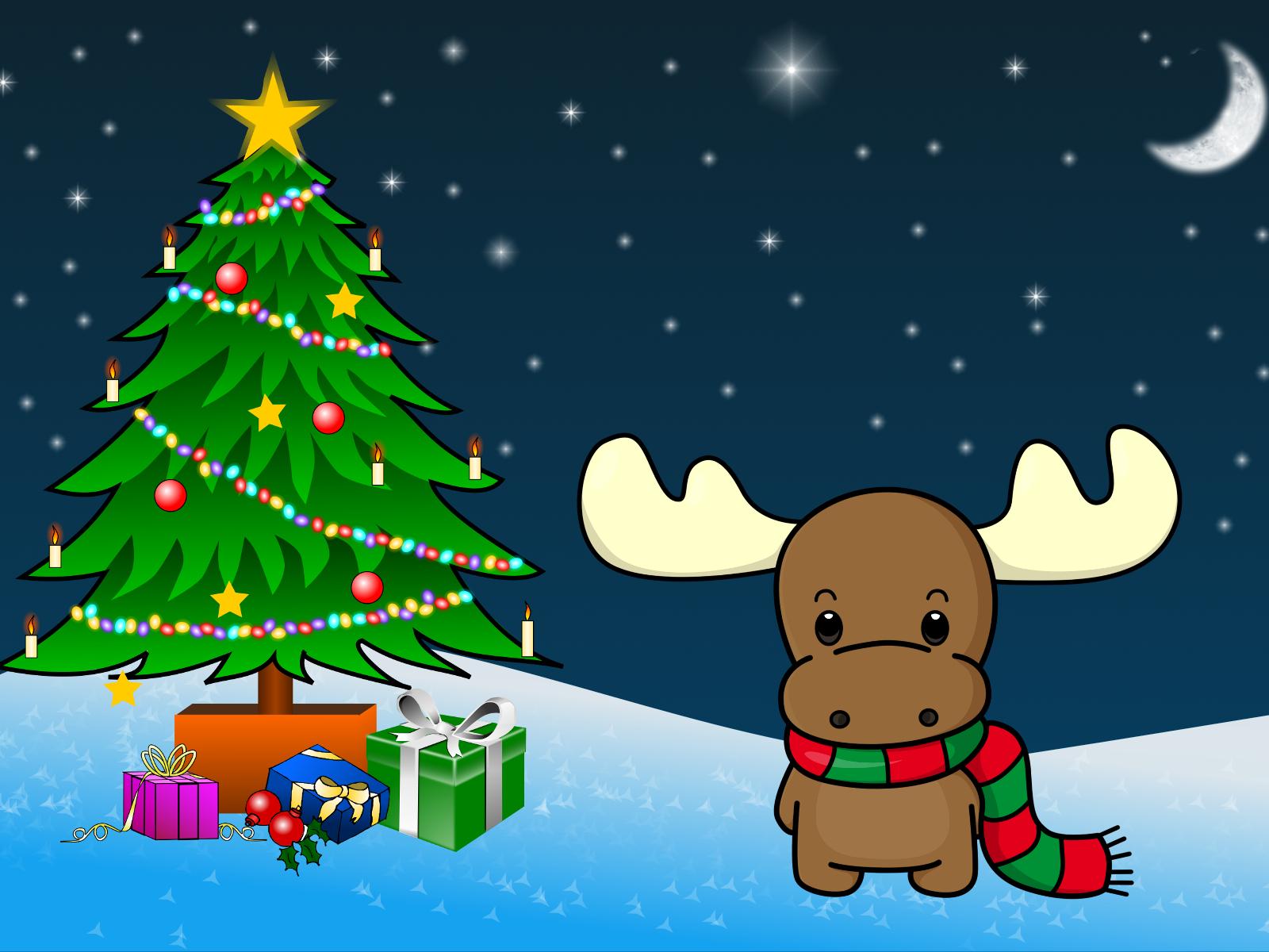 Deer Christmas Tree Night