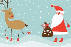 Deer Santa Playing Together