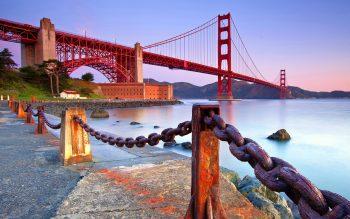 Beautiful Long Golden Gate Bridge in California US