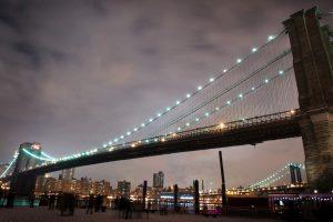 Beautiful Nigth Look of Brooklyn Bridge in New York