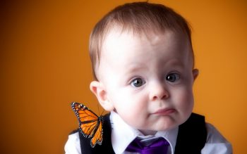 Cute White Baby With Butterfly HD Photo