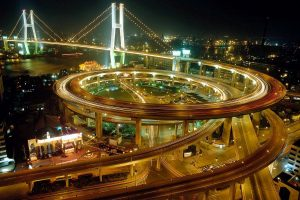 Flyover Bridge of Shanghai at Night