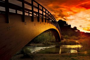 Nice Super Bridge on River and Sunset View