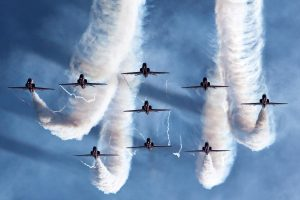 Nine Fighter Plane In Sky