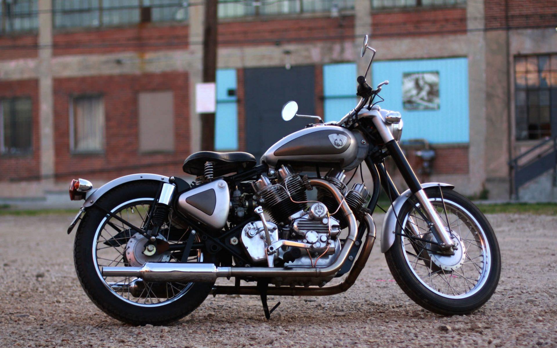 Royal Enfield Bullet Bike Photo X on V Twin Engine Animation