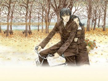 Romantic Couple on Bicycle Drawing