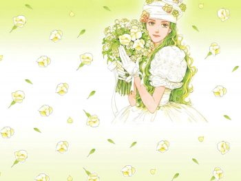 Romantic Girl With Flowers Drawing