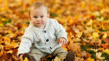 Cute Baby Boy Autumn Leaves