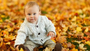 Cute Baby Boy Autumn Leaves HD Wallpapers For Android