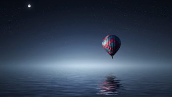Hot Air Balloon Over Sea Full HD Wallpaper Download