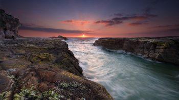 Sunset At Muriwai Beach Full HD Wallpaper Download