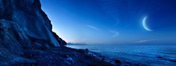 Nightfall Mountain Sea Moon