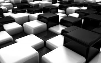 Abstract Black And White Blocks Cubes Digital Art High Resolution iPhone Photograph