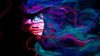 Abstract Girl Face Eyes Lines Psychedelic Women Females Colors Mood Emotion Colorful Photograph Free Get