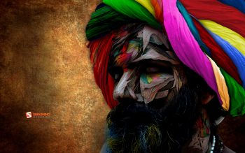 Abstract Multicolor Men India Beard Chromatic Turbans Neat Image For Free