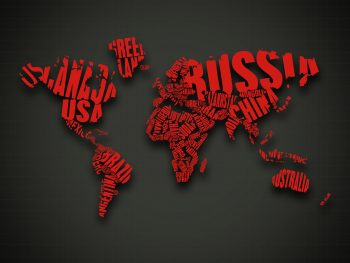 Abstract Red Text Cgi Typography World Map