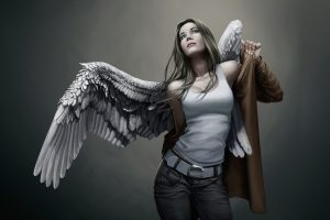 Angels Wings Singlet Jeans Fantasy Girls Urban Girl Brunette Mood Neat Image For Free