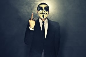 Anonymous Dark Horror Anarchy Mask Fuck Gesture Finger Colorful Photograph Free Get