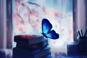 Art Chibionpu Butterfly Books Branches Tree Sakura Book Artwork Painting