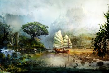 Art Guild Wars 2 Ship Sailing Scenery Mountains Lake Water Ruins Fantasy