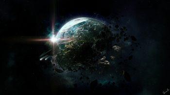 Art Space Planet Destruction Asteroids Debris Rings Stars Apocalyptic Science Fiction
