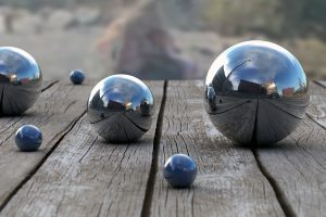 Balls Wood Reflection Depth 3D Bokeh