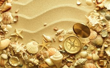 Beach Sand Shell Compass Travel Bokeh High Resolution iPhone Photograph