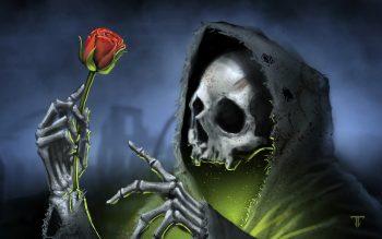 Dark Gothic Skull Skulls Reaper Grim Roses Rose Death Skeleton High Resolution iPhone Photograph