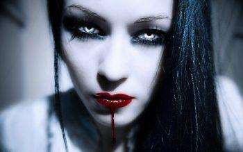 Dark Horror Fantasy Gothic Vampire Women Face Blood Neat Image For Free