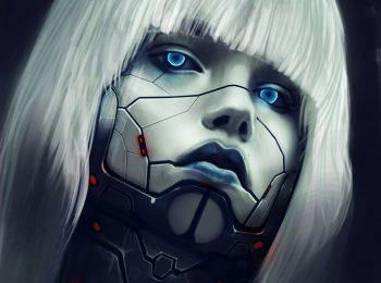 Eyes Robot Face Blonde Girl Hair Science Fiction Cyborg Women Females Face Eyes