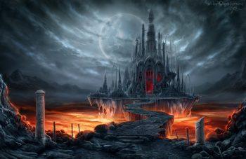 Fantastic World Gothic Castle Moon Fantasy