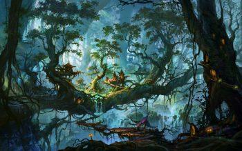 Fantastic World Trees Fantasy Nature City Art Artwork Forest House Home