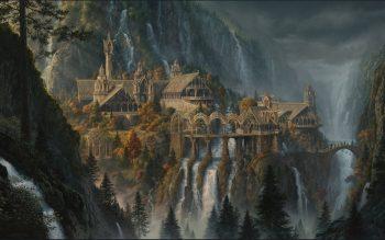 Fantasy Art Artwork Lord Rings Lotr Waterfall City Cities Castle River Detail