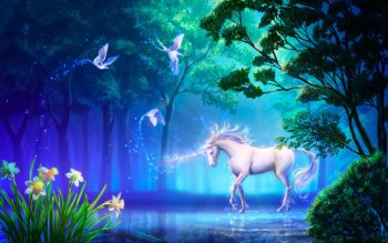 Fantasy Unicorn Horse Tree Magic Art Flower Neat Image For Free