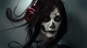 Gothic Face Brunette Girl Hair Fantasy Girl Fantasy Skull Death Photograph