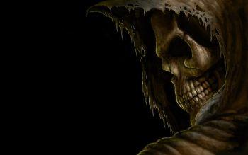Grim Reaper Death Dark Skull Hood Eyes Evil Scary Spooky Creepy Teeth Black Halloween Neat Image For Free