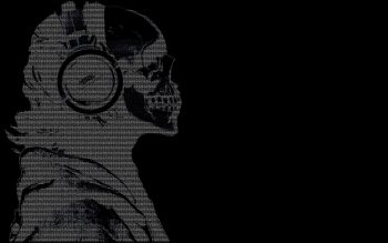 Headphones Skulls Black Dark Text Ascii Hackers Guy Get Neat Image For Free