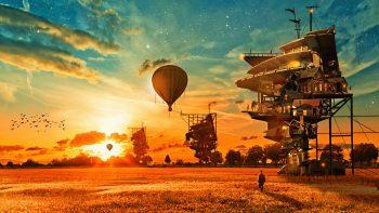 Houses Aerostat Fantasy Balloon Steam Punk