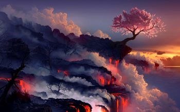 Landscapes Cherry Blossoms Trees Sea Lava Smoke Rocks Artwork Drawings Get Neat Image For Free