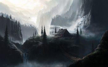 Landscapes Dark Houses Bridges Fantasy Art Artwork Waterfalls Get Neat Image For Free
