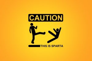 Minimalistic Sparta Signs Funny Warning Caution Stick Figures Simple Yellow